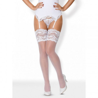 Чулки Obsessive 810-STO-2 stockings white L/XL